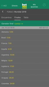 pantallazo de la aplicación bet365 android