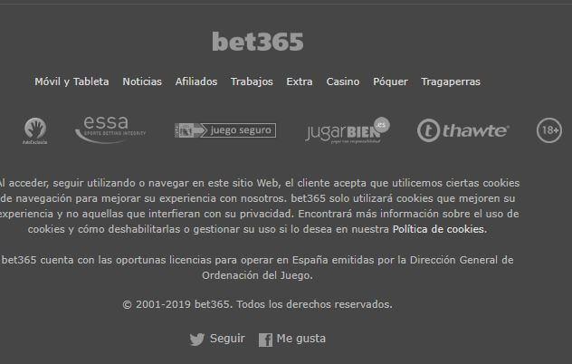 cuadro bet365 licencias